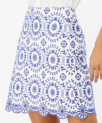 Sabrina blue & white schiffli skirt