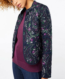 Naomi navy floral quilted jacket