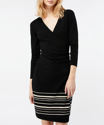 Saskia black striped wrap dress