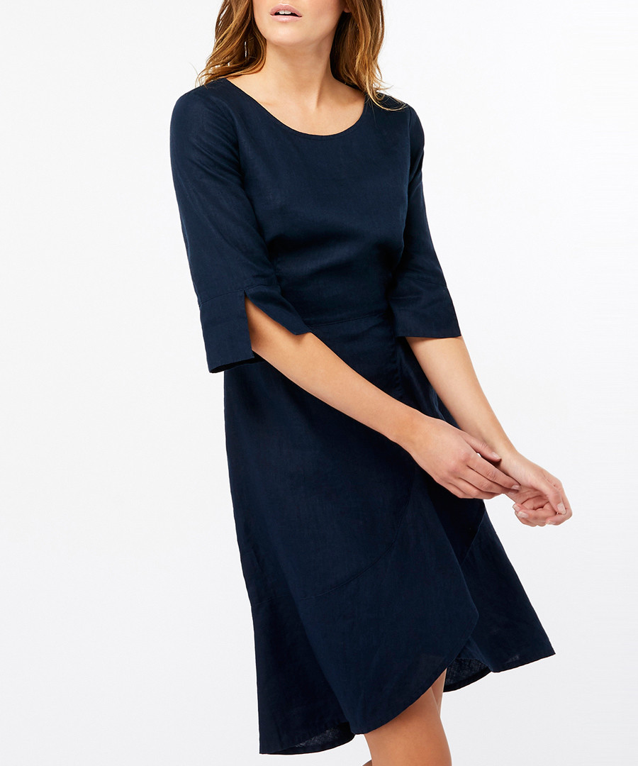 Mary navy pure linen dress Sale - monsoon