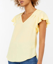 Yasmin lemon ruffle sleeve blouse