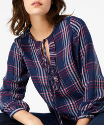 Astrid navy check blouse