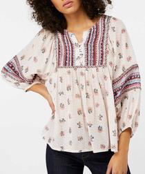 Mia blush print boho blouse