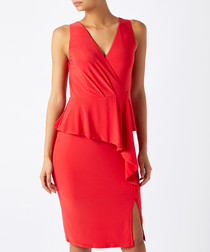 Sheila red layered jersey dress