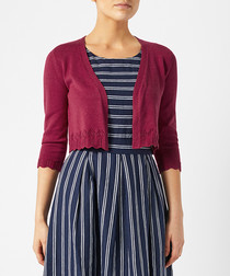 Paige wine pointelle cardigan