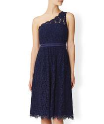 Juniper blue one-shoulder lace dress