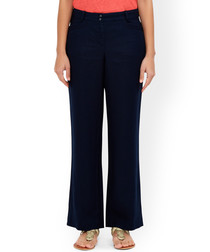 Lola navy pure linen regular trousers