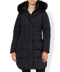 Alexis black feather & down quilted coat