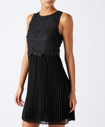 Piper black lace pleated dress