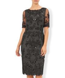 Gretchen black sheer embellished dress