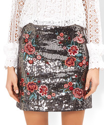 Tabia silver floral sequin mini skirt