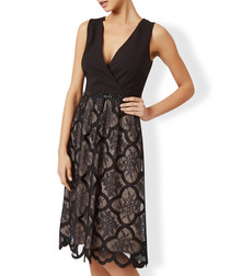 Sabina black lace plunge dress