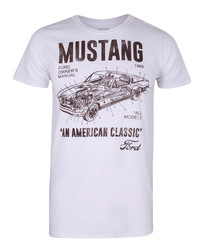 Mustang Manual ecru cotton blend T-shirt