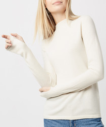 Cream pure cashmere thumb-hole jumper
