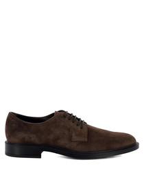Walnut suede Derby shoes