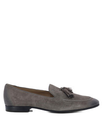 Grey leather tassel loafers
