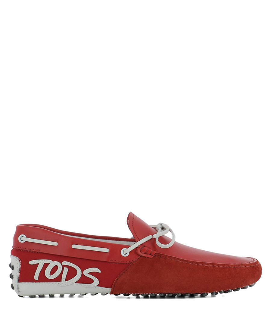 Red suede & leather brand loafers Sale - tod`s
