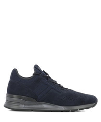 Navy suede & fabric sneakers