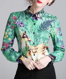 Green wildlife long sleeve shirt