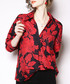 Black & red leaf print blouse Sale - Kaimilan Sale