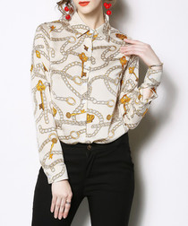 Beige & yellow chain print blouse