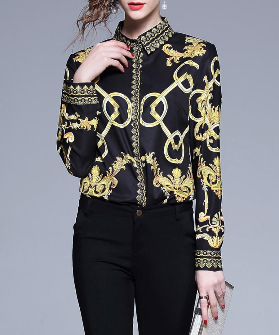 Black & yellow chain print shirt Sale - Kaimilan