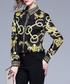Black & yellow chain print shirt Sale - Kaimilan Sale