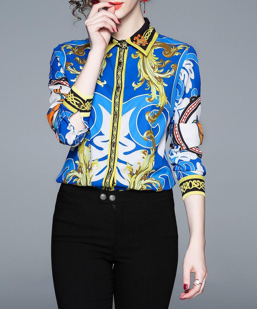 Blue & gold print long sleeve shirt Sale - Kaimilan