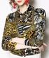 Yellow leopard print long sleeve shirt Sale - Kaimilan Sale