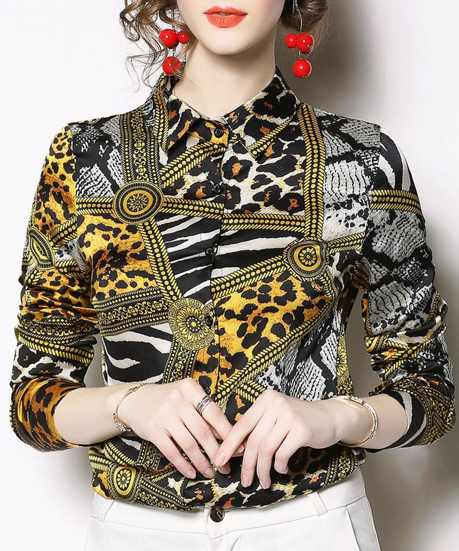 Yellow leopard print long sleeve shirt Sale - Kaimilan