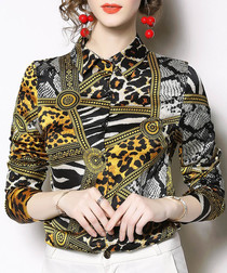 Yellow leopard print long sleeve shirt