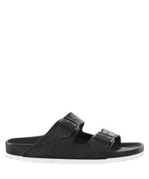 Arizona black leather moc-croc sandals
