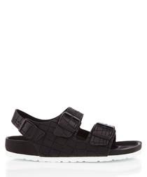 Milano black leather moc-croc sandals