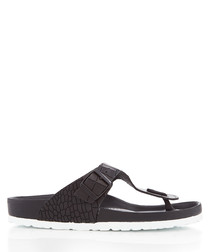 Ramses black moc-croc thong sandals