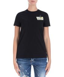 Chest-print black pure cotton T-shirt