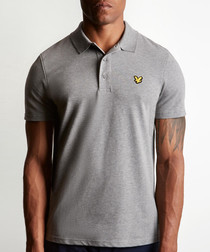 Heatly grey marl cotton blend polo shirt