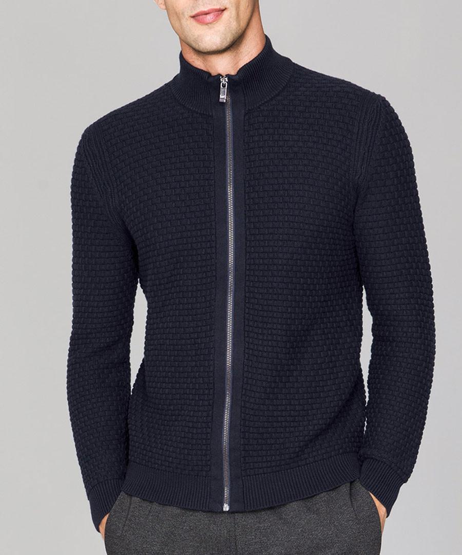 Midnight wool-blend full-zip cardigan Sale - KUEGOU