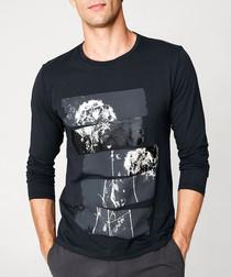 Black pure cotton panel print jumper