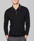 Black cotton long sleeve stretch polo Sale - KUEGOU Sale