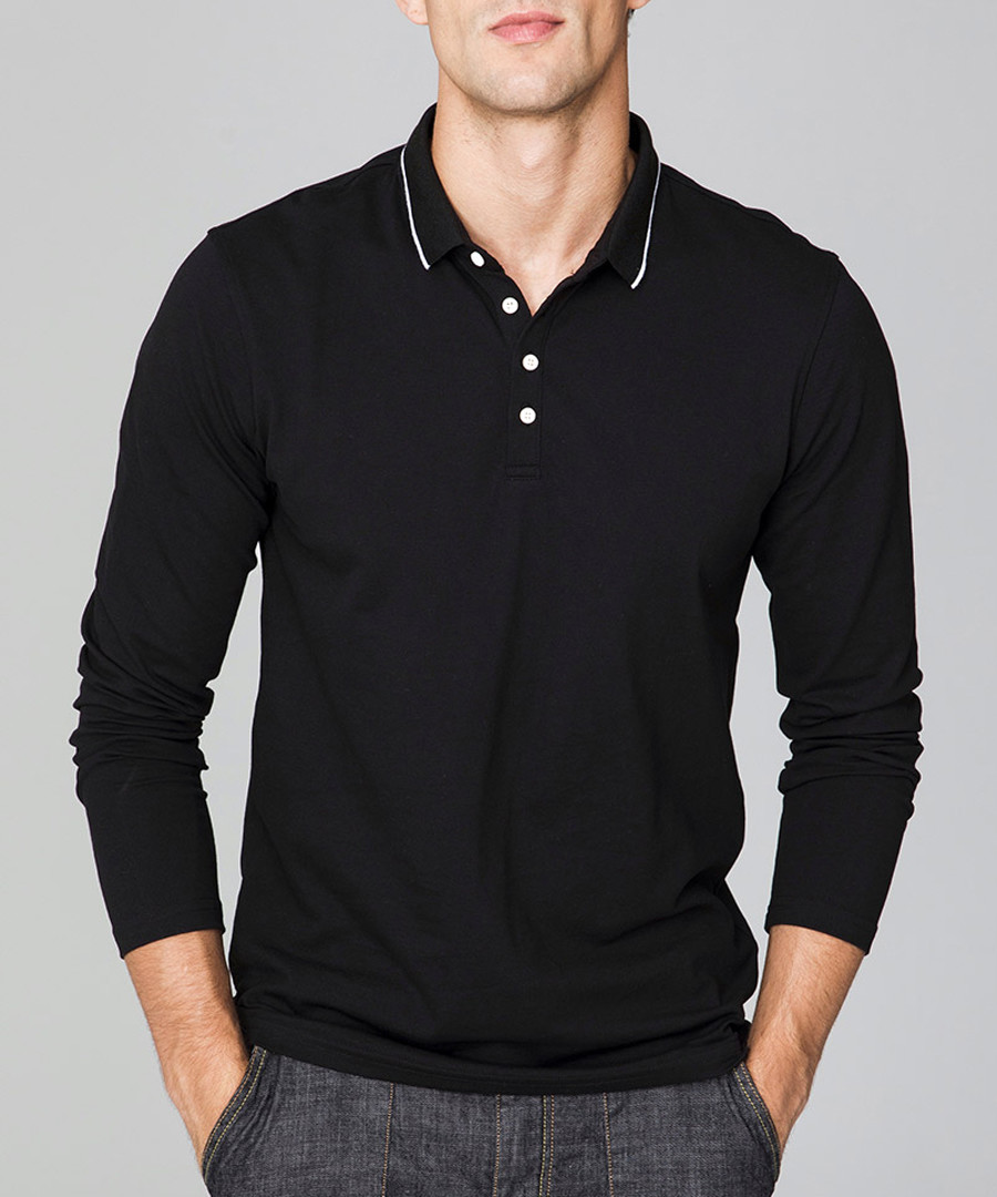 Black cotton long sleeve stretch polo Sale - KUEGOU