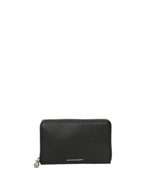 Black leather logo zip-around purse
