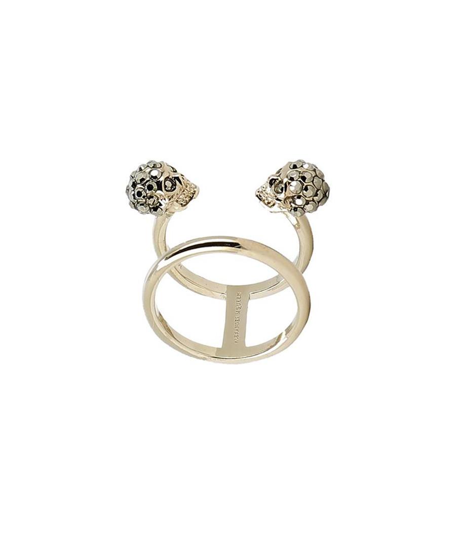 Twin Skull gold-plated & Swarovski ring Sale - alexander mcqueen