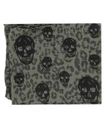 Khaki cotton & wool skull scarf