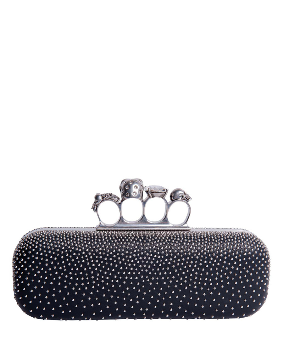 Knuckle black leather box clutch  Sale - alexander mcqueen