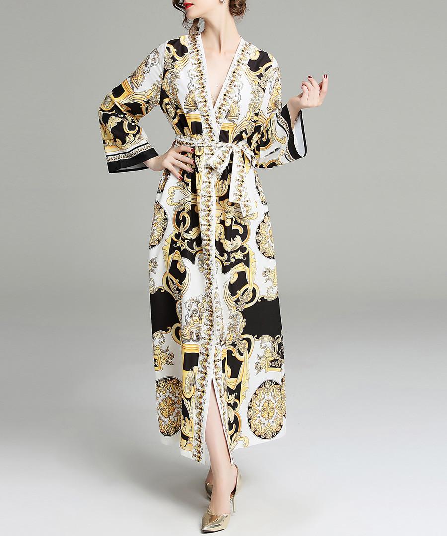 White & black classical wrap maxi dress Sale - yyfs