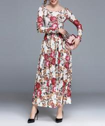 White & floral round neck maxi dress