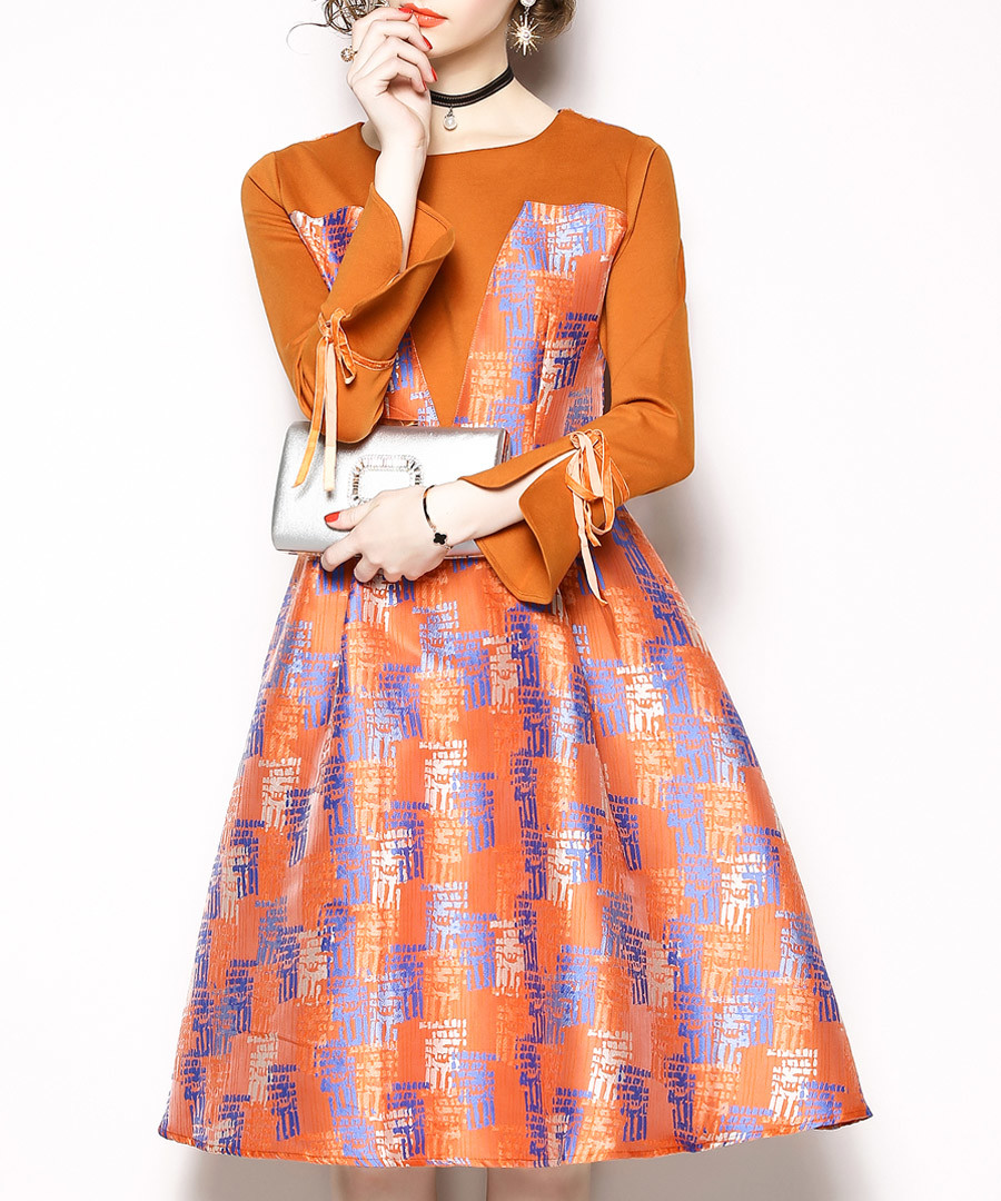 Orange & purple print A-line dress Sale - kaimilan