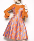 Orange & purple print A-line dress Sale - kaimilan Sale