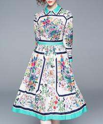 Multi-colour print midi dress