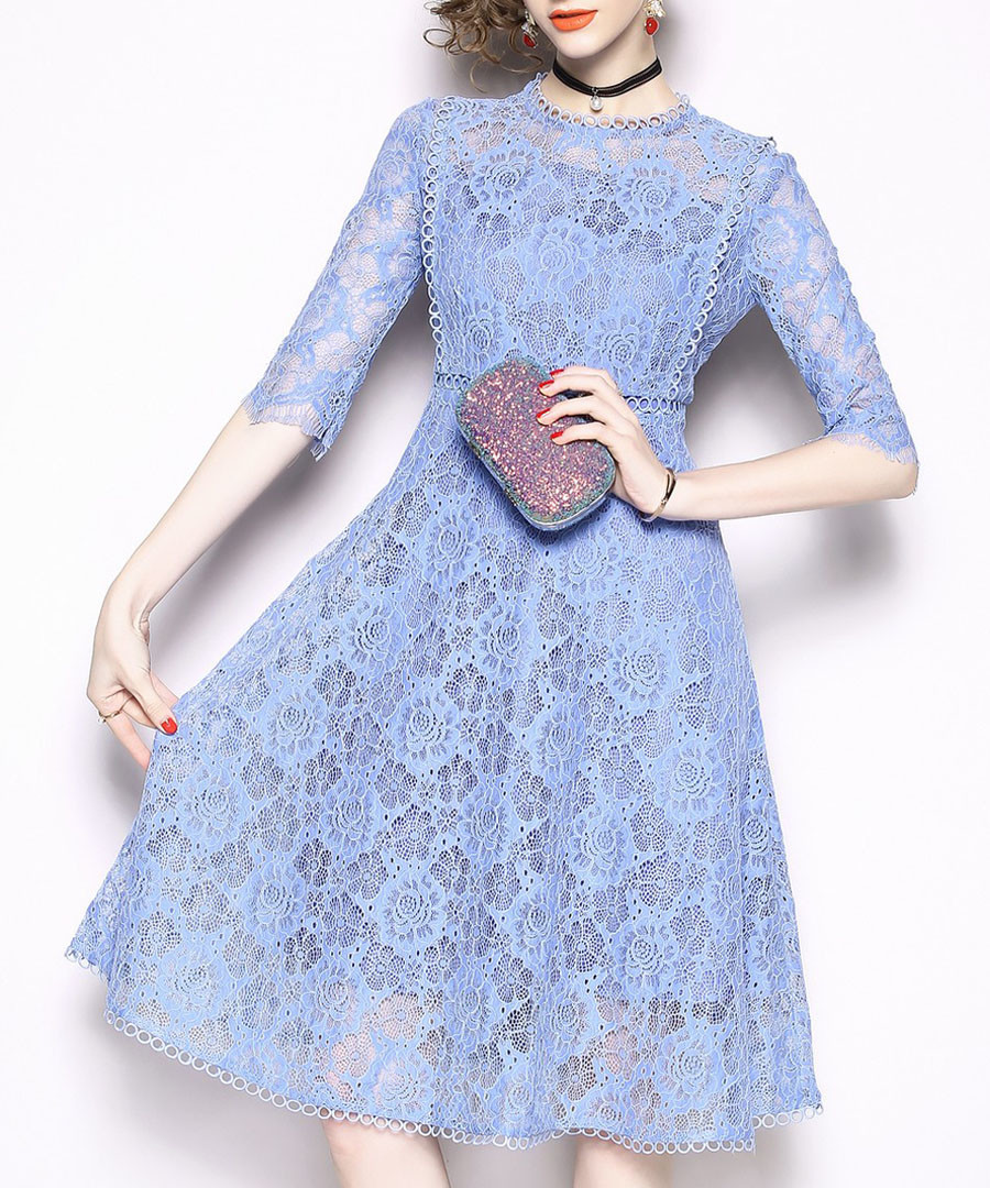 Blue lace overlay midi dress Sale - kaimilan